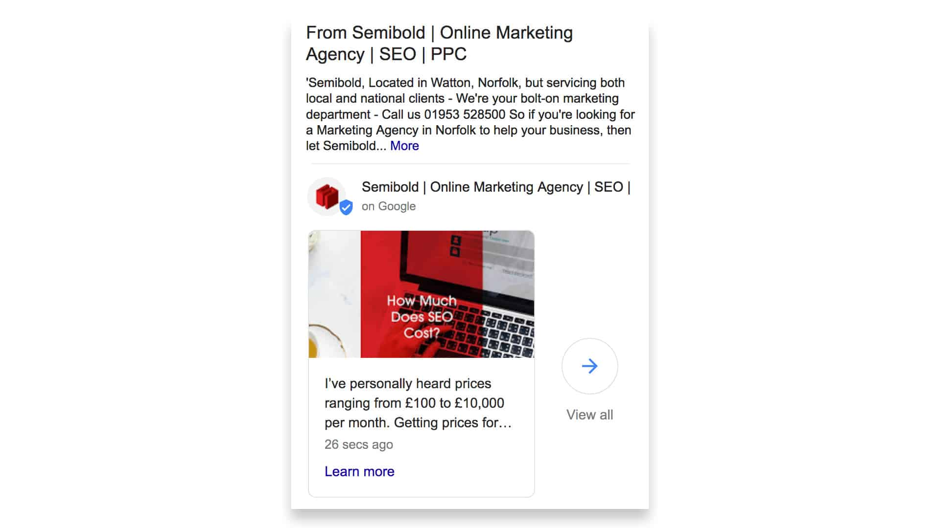 Google My Business posts Semibold
