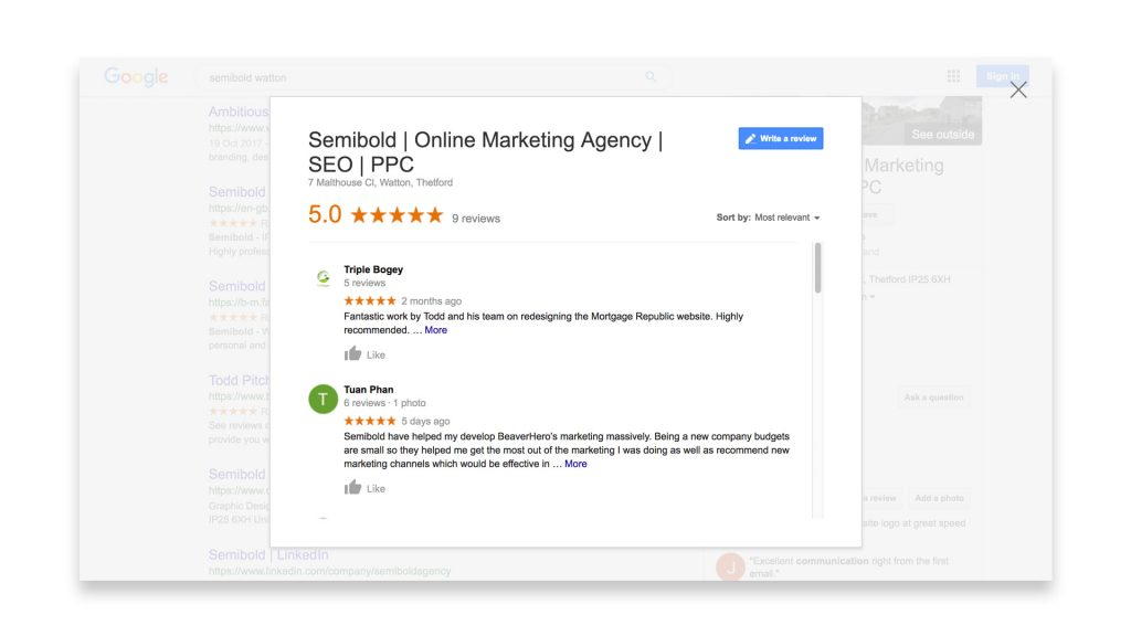 Semibold 5* Reviews Marketing Agency