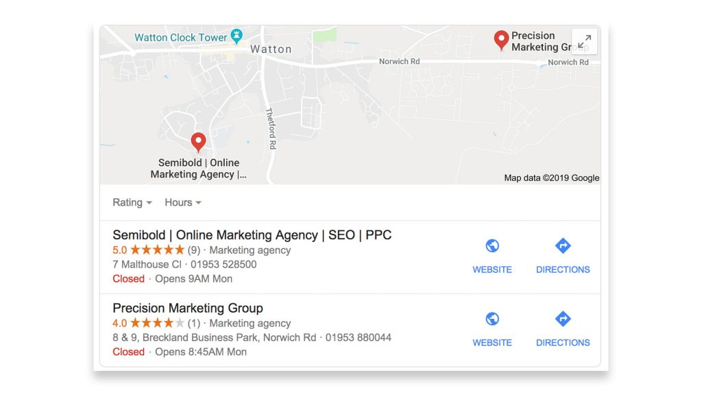 Semibold Google My Business local SEO rankings